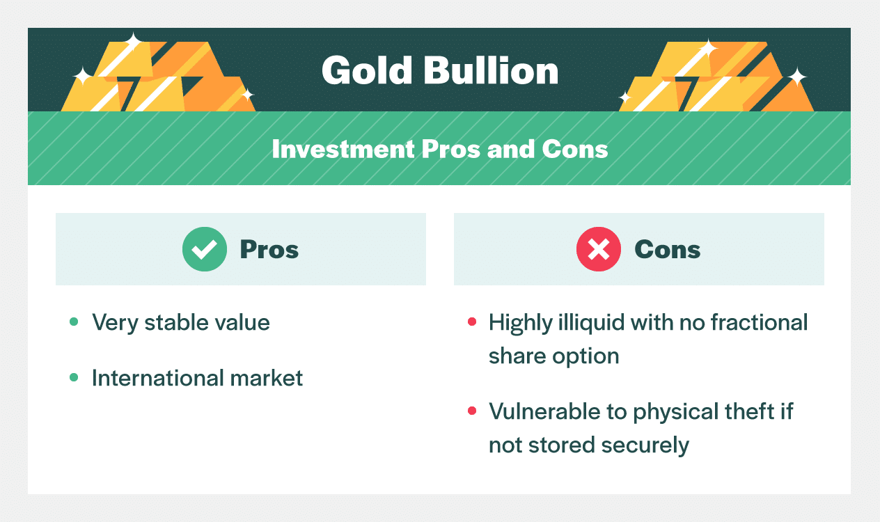 investment pros and cons gold bullion
