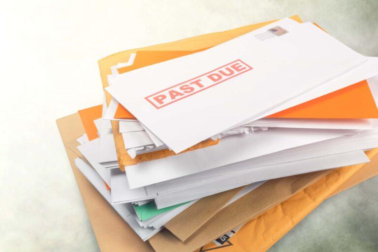 Pile Of Mail Overdue Bills Envelopes