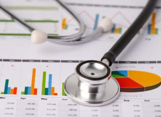 Stethoscope Laying Over Printed Reports Bar Graphs