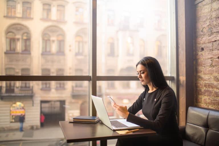Woman Computer Bank