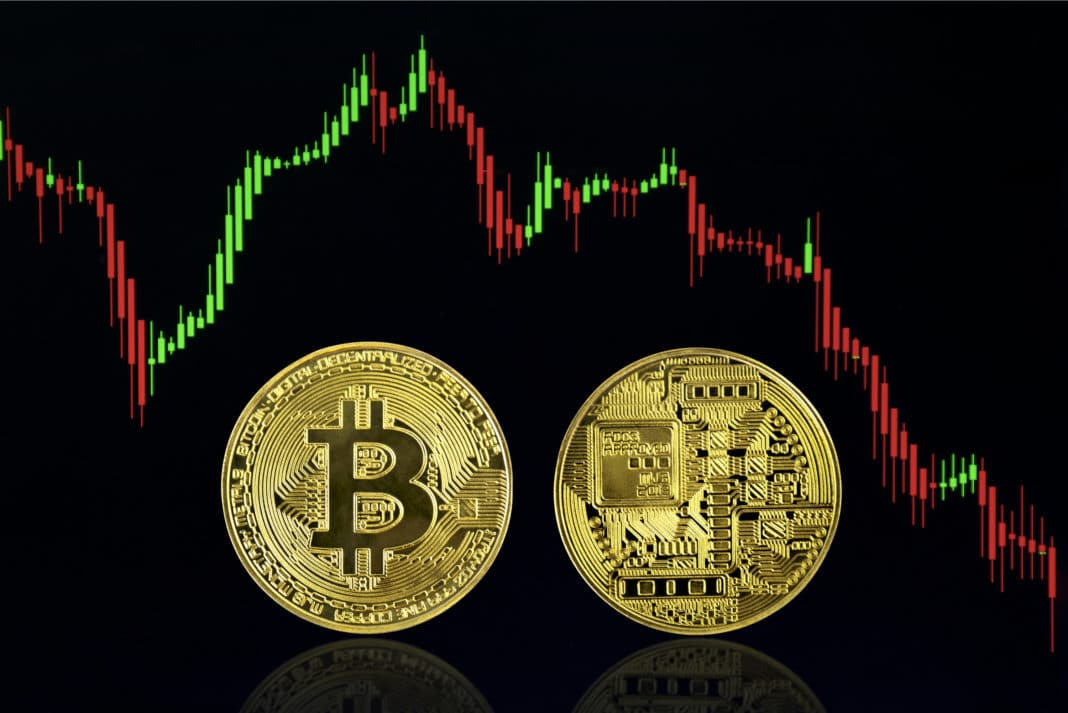 Bitcoin Cryptocurrency Volatile Candlestick Graph