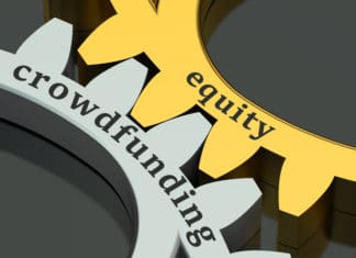 Gold Silver Gears Displaying Equity Crowdfunding Text