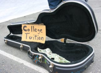 Open Guitar Case College Tuition Sign