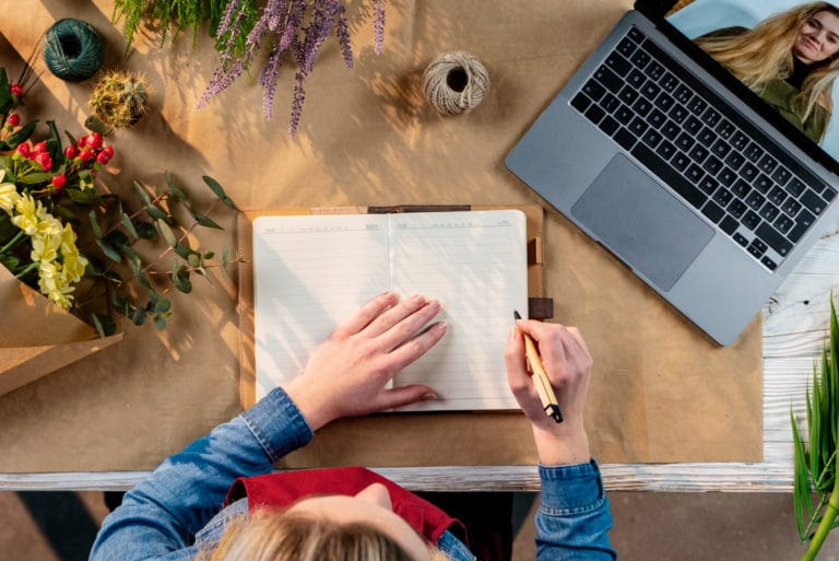 Top View Wedding Planner Notebook Computer