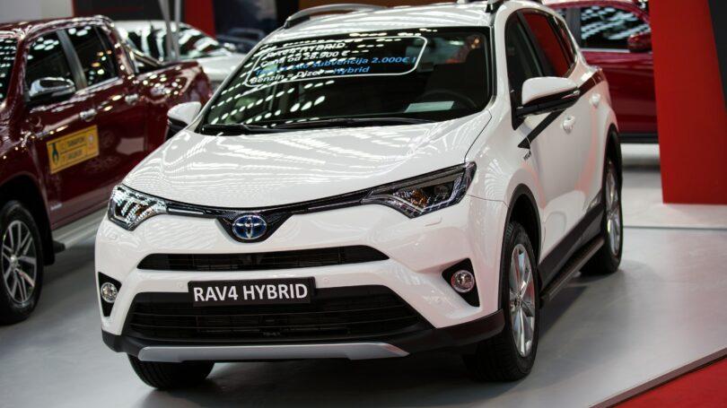 White Toyota Rav4 Hybrid Display