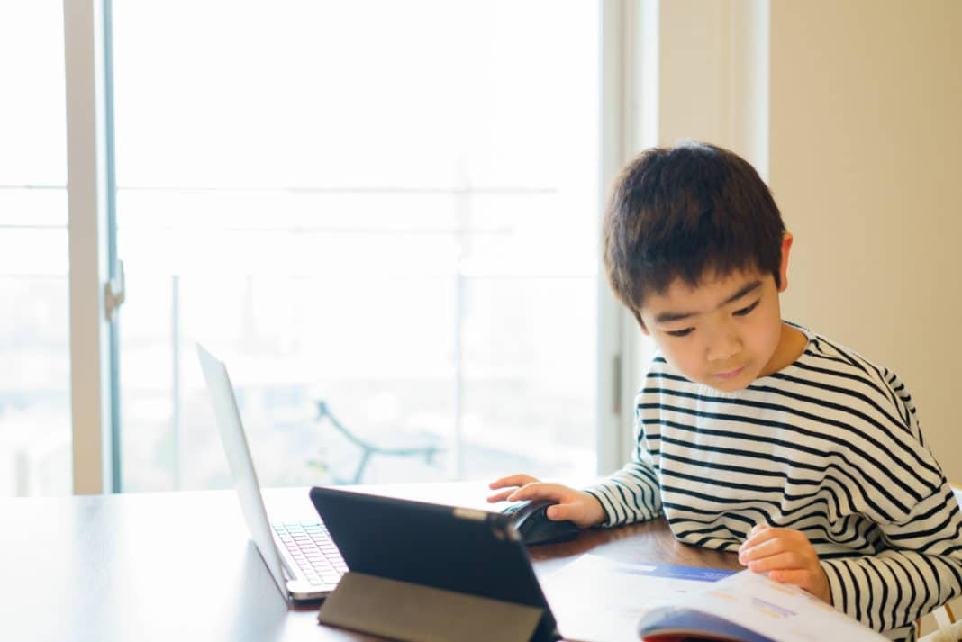 Boy Studying Computer Tablet Book