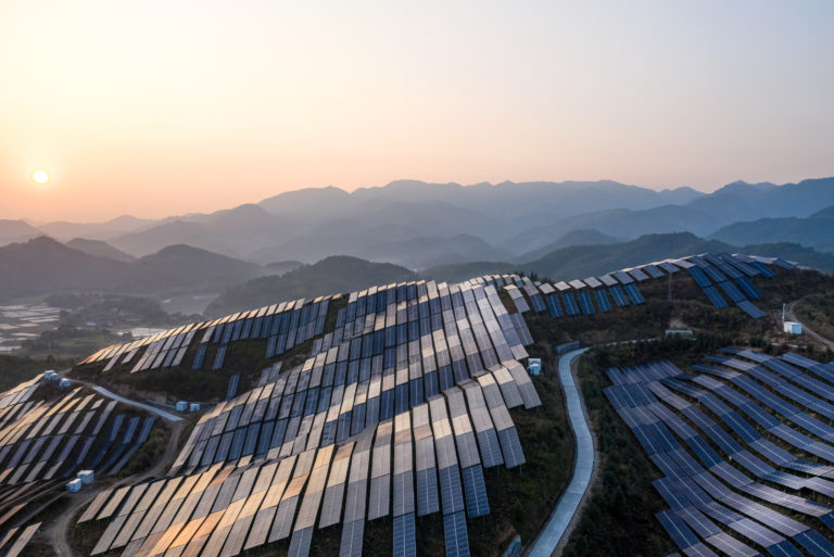 Solar Panels Covering Mountain