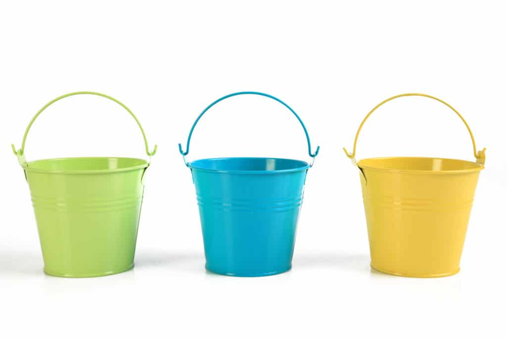 Three Colored Buckets White Background